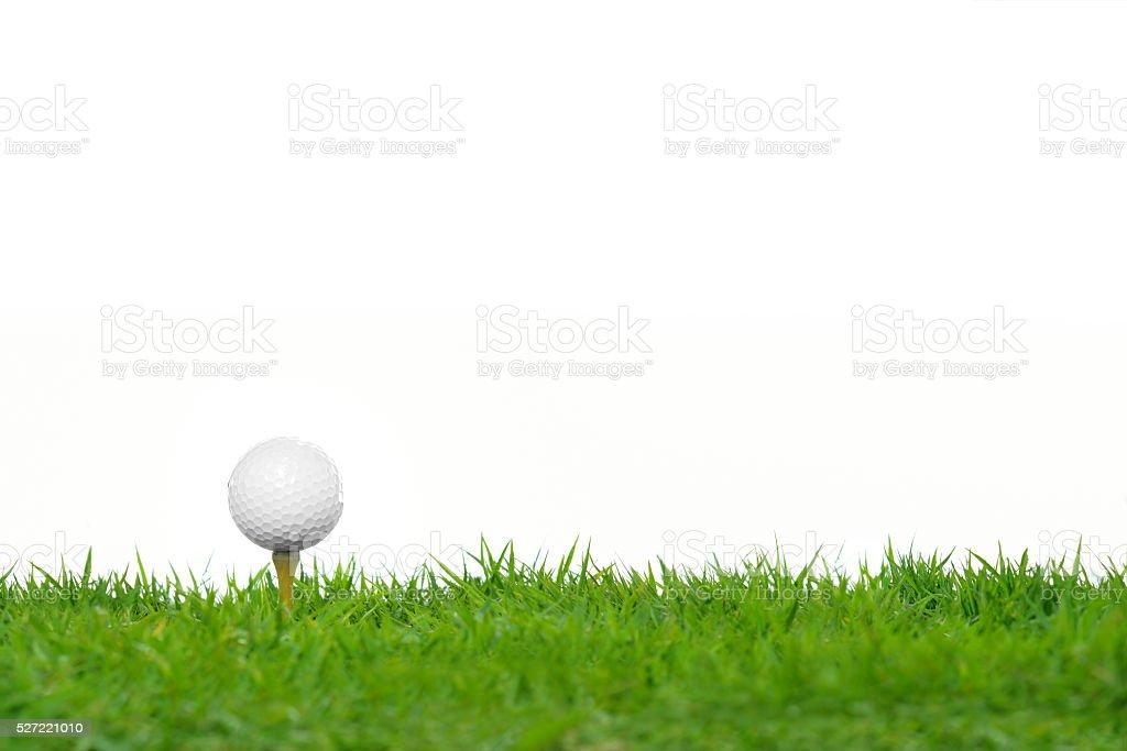 Golf ball on green grass stock photo