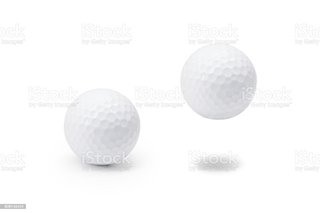 Golf ball on isolated white background. ( Clipping path or cutout object for montage ) stock photo