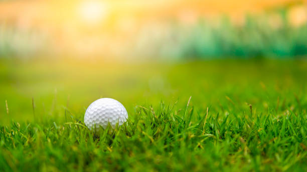 golf ball on rough grass fairway on sunset - golf stock photos and pictures