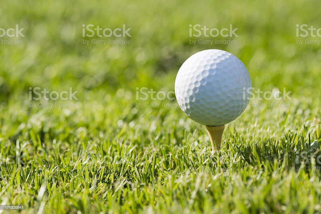 Golf ball on tee in the field royalty-free stock photo