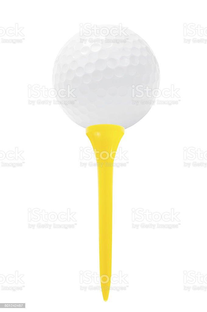 Golf ball on tee, isolated on white. stock photo