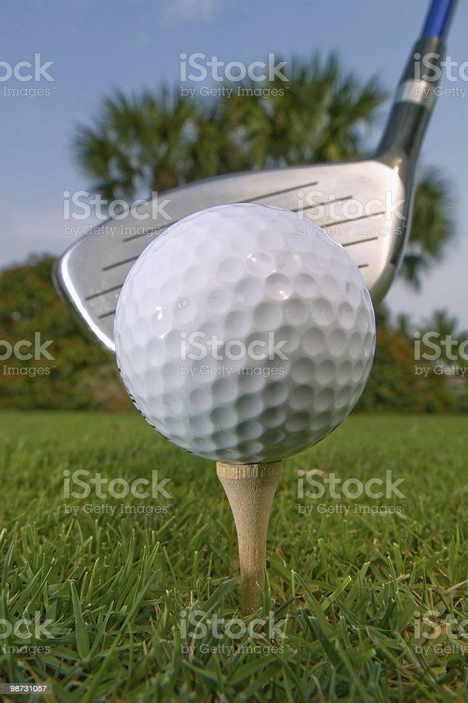 Pallina da golf sul tee con driver pronto per lo swing foto stock royalty-free