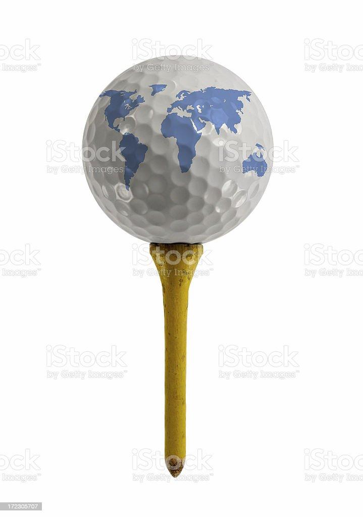 Pelota de Golf en T con globo - foto de stock