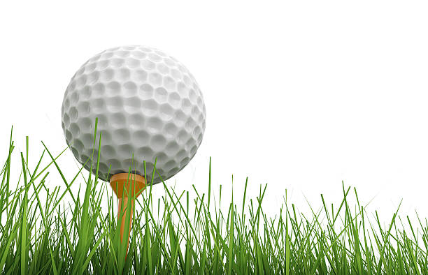 golf ball on tee with green grass - clip art stock photos and pictures