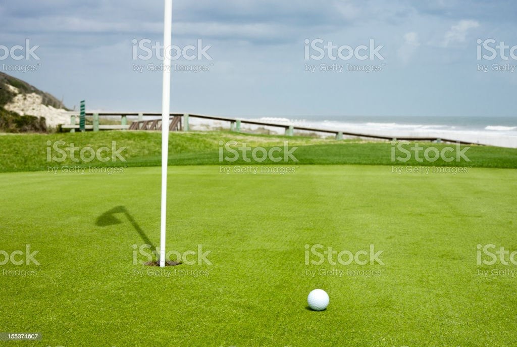 Golf Ball on the Green stock photo
