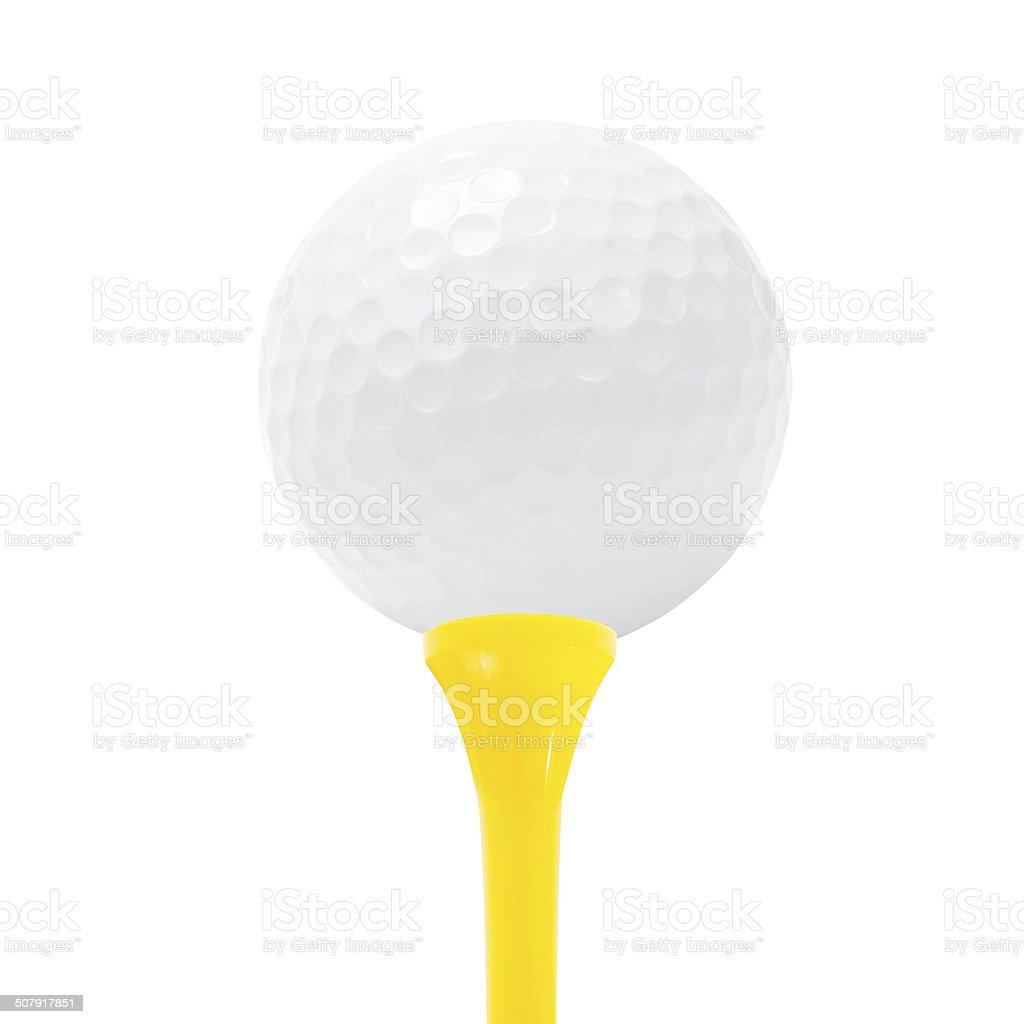 Golf ball on white background. stock photo