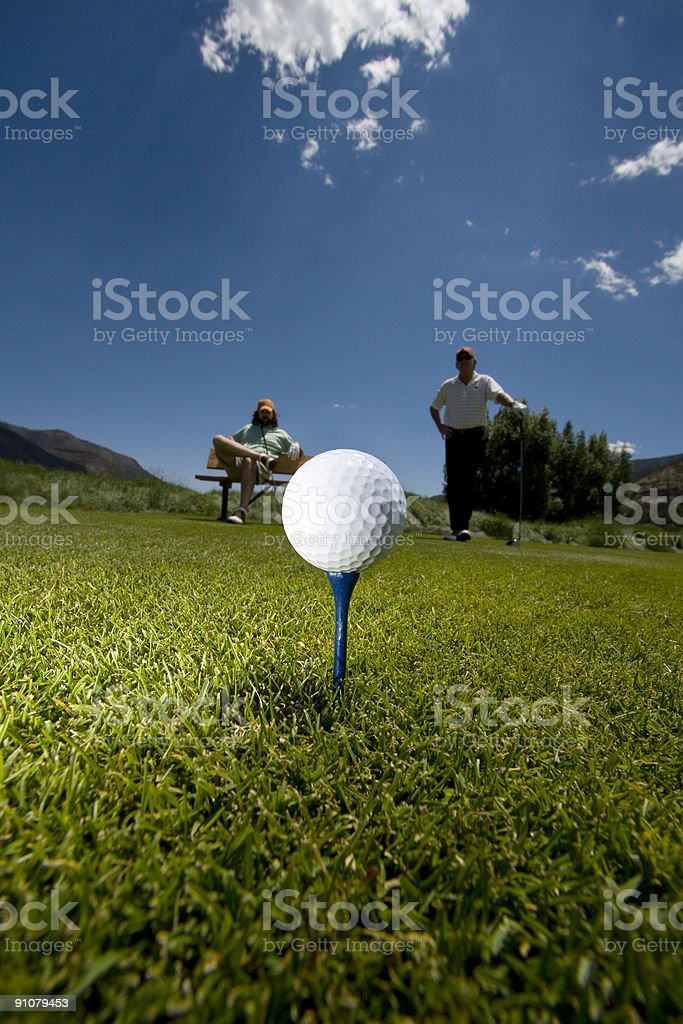 golf ball ready for tee off royalty-free stock photo