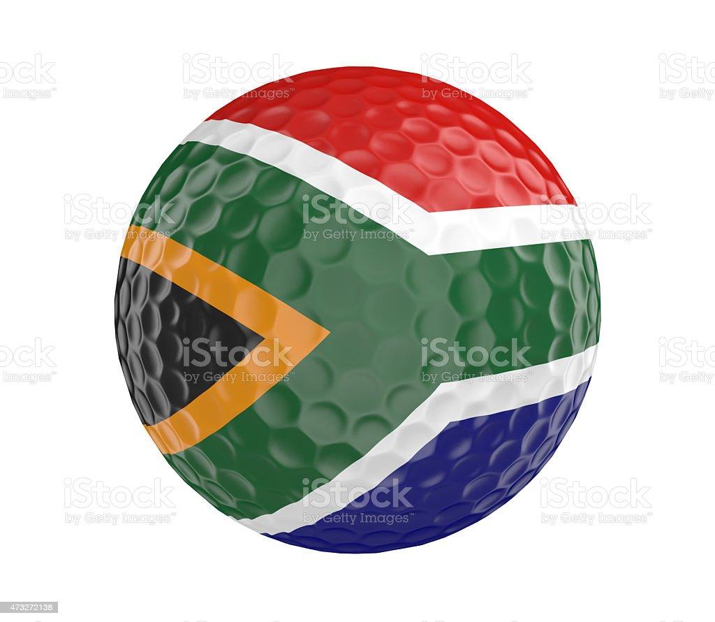 Renderização de bola de Golf com bandeira da África do Sul, isolada no branco