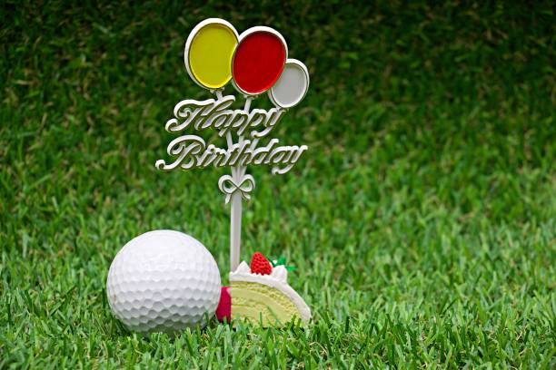 Golf Ball With Happy Birthday For Golfer Stock Photo