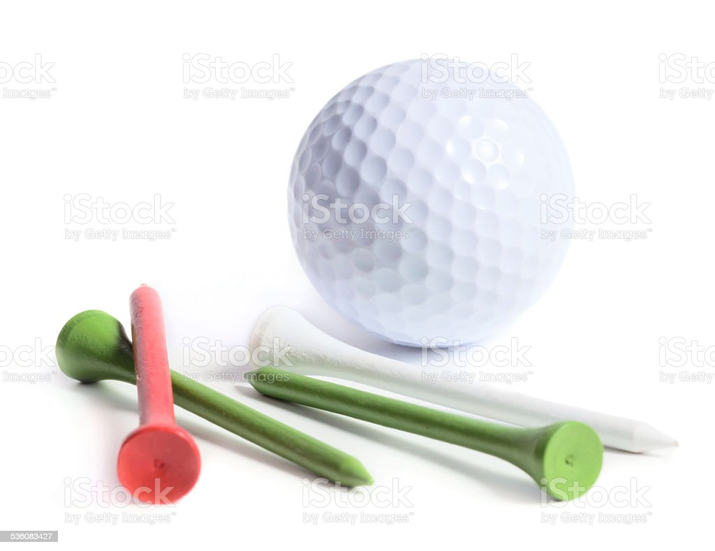 Golf ball with tees stock photo