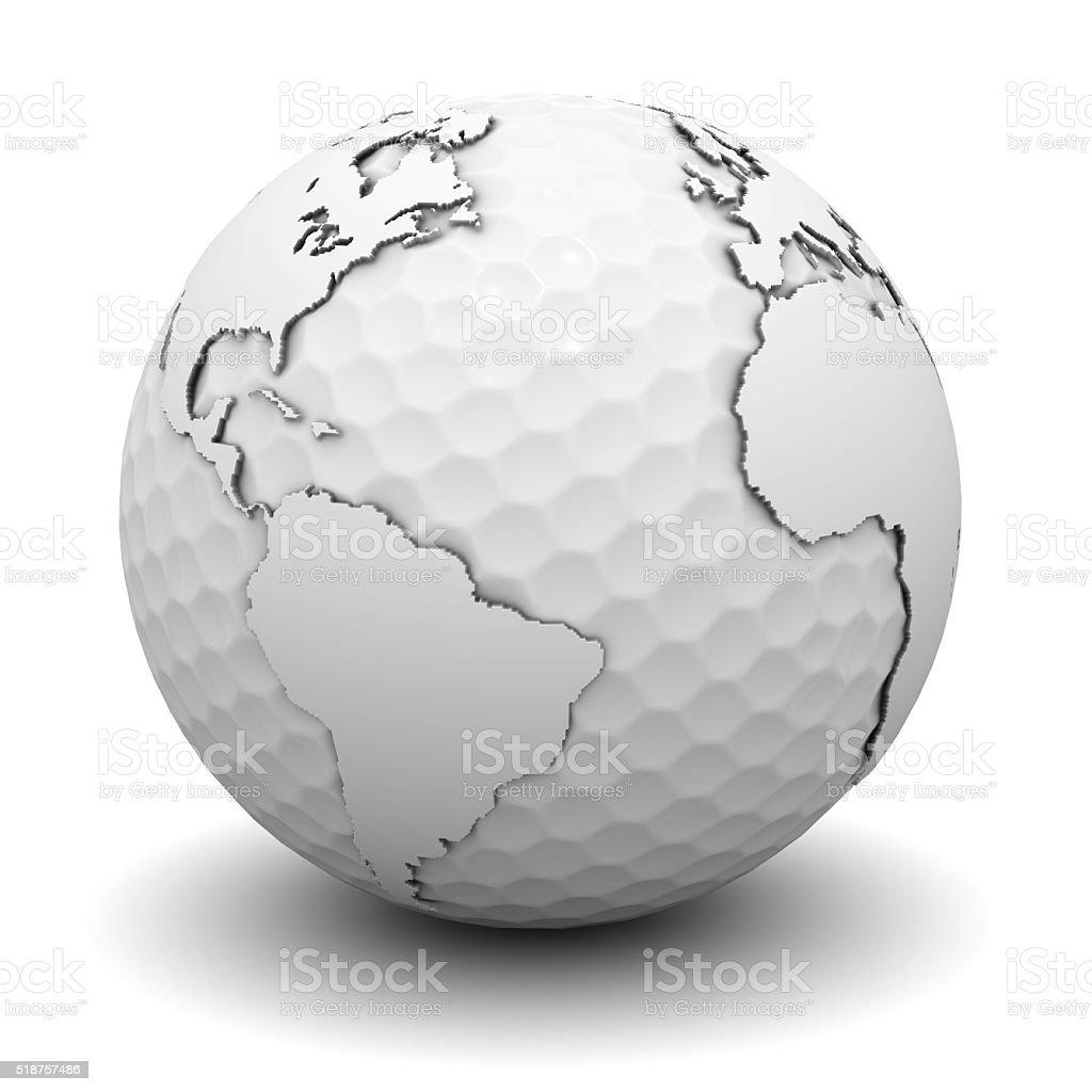 Pelota de Golf con mapa mundial - foto de stock