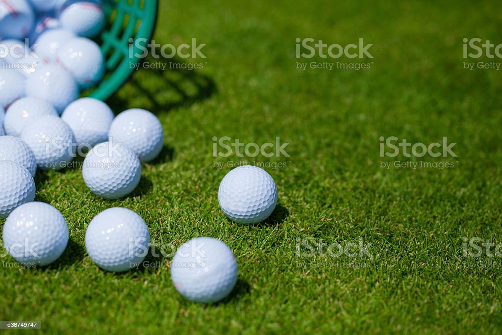 Golf balls .basket stock photo