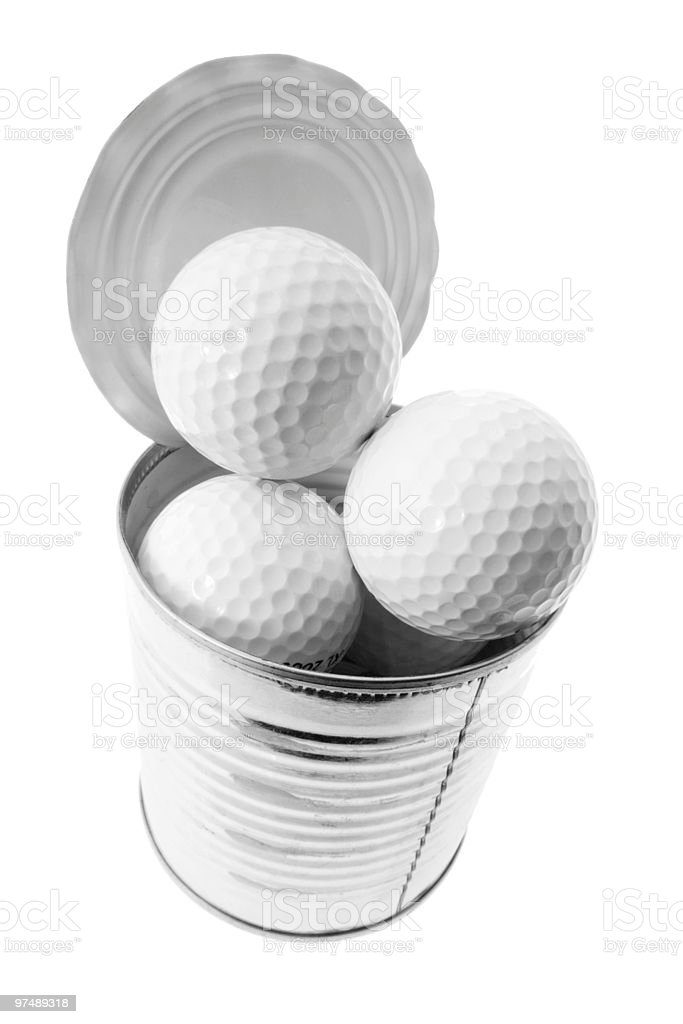 Golf Balls in Tin Can royalty-free stock photo