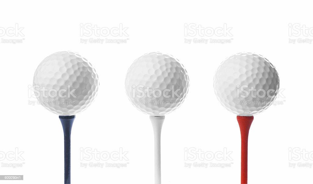 Golf Balls on Tees royalty-free stock photo