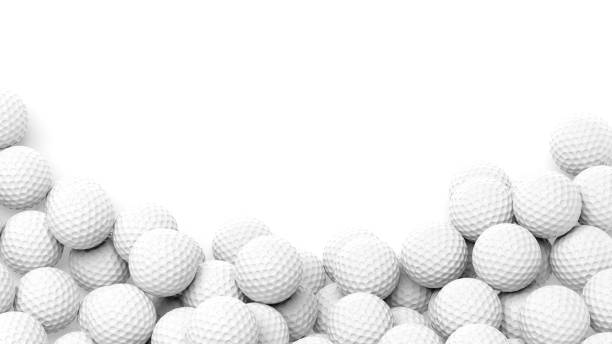 Golf balls pile Golf balls pile with copy-space isolated on white background golf ball stock pictures, royalty-free photos & images
