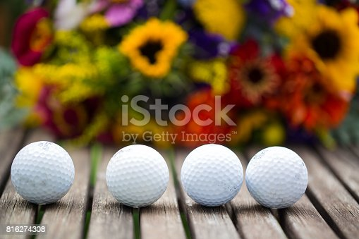 825397576 istock photo golf balls with flowers for birthday, card, voucher 816274308