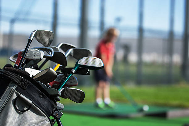 Golf, bambini, campo pratica stock photo
