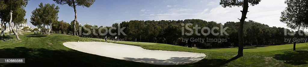 Golf bunker panorama royalty-free stock photo