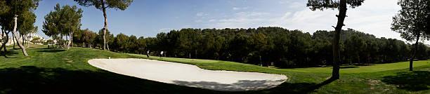 Golf bunker panorama stock photo