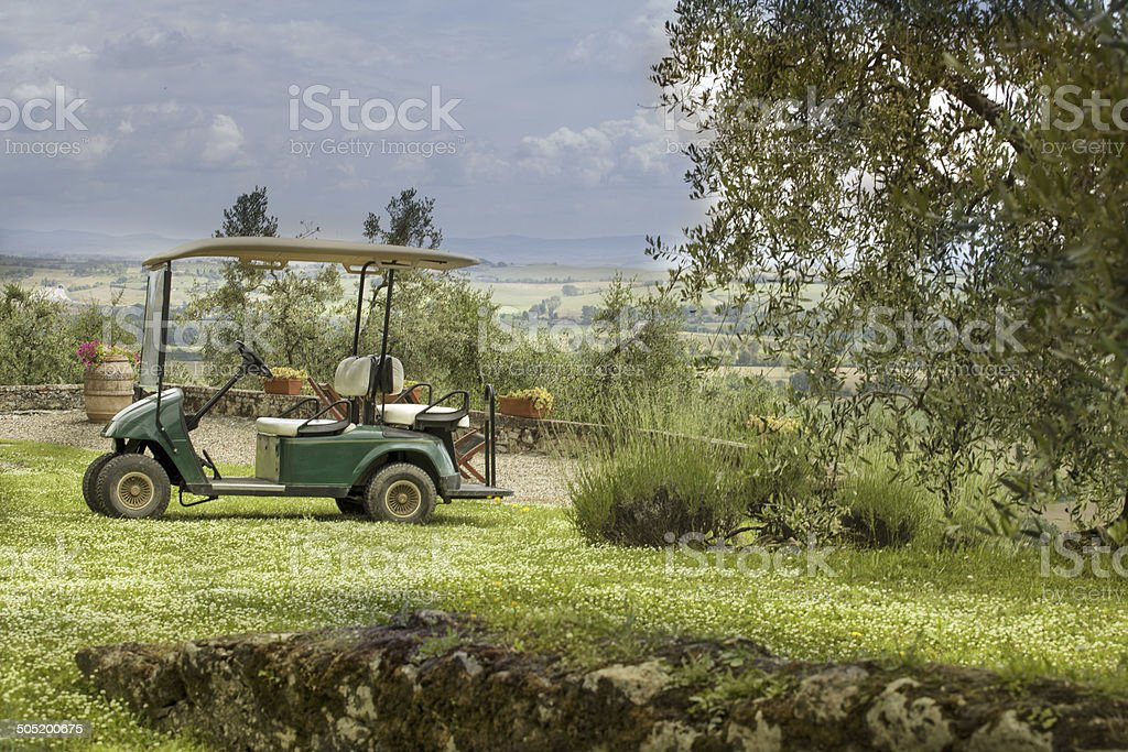 Golf car in the Tuscany royalty-free stock photo