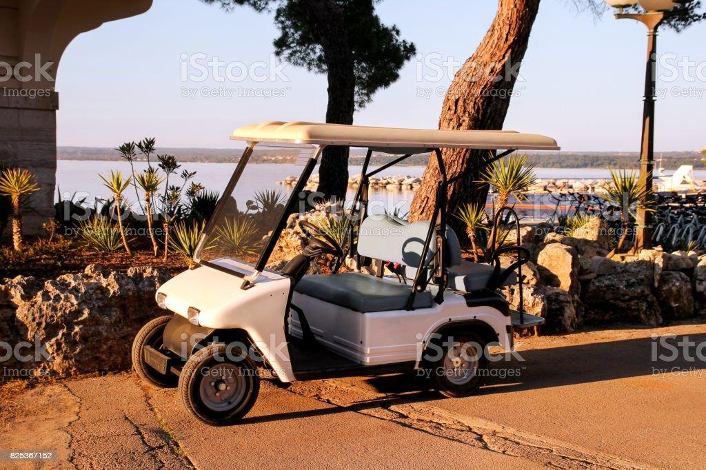Golf carro estacionado ao ar livre num dia ensolarado de primavera. Carro branco clube de golfe. - foto de acervo