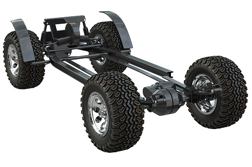 Golf car chassis suspension undercarriage. 3D rendering