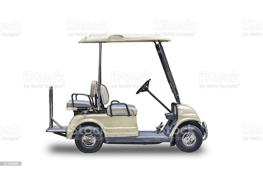 Golf cart golfcart isolated on white background. stock photo