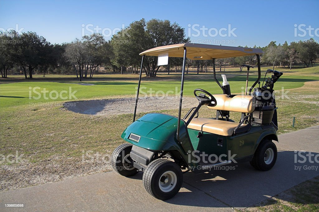 Golf Cart on Path stock photo