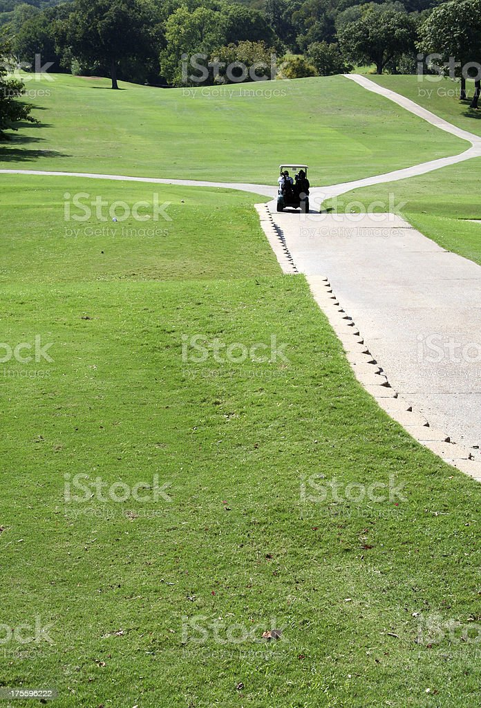 Golf Cart on the Fairway stock photo