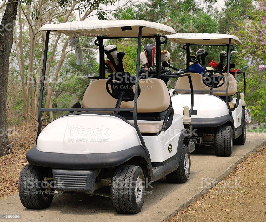 Golf cart or club car at golf course stock photo
