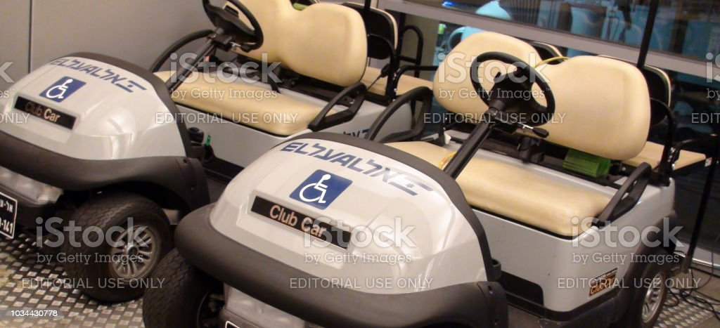 Golf Cart Parked At Arrival And Departure Lounge Of Ben Gurion International Airport In Israel stock photo