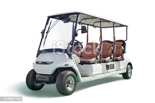 White golf cart with six seats isolated on white background with a drop shadow.