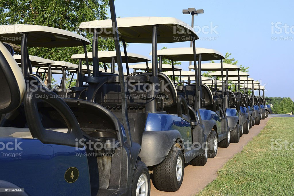 Golf Carts All In A Row stock photo