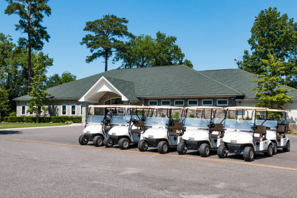 Golf Carts and Clubhouse at Stumpy Lake Golf Course stock photo