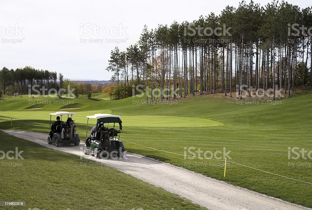 Golf carts stock photo
