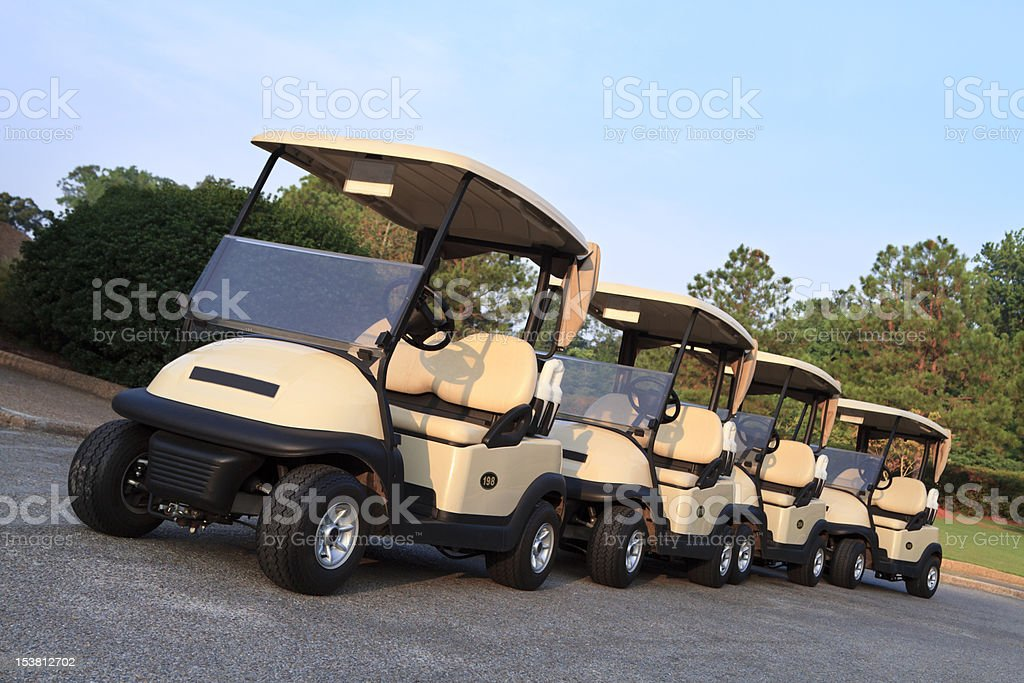 Golf Carts Ready for Players stock photo