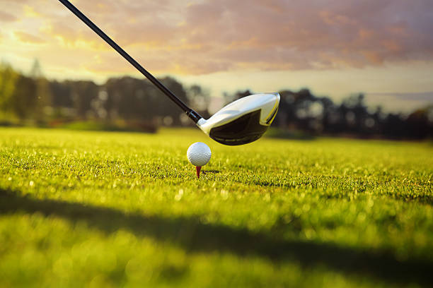 golf club and ball in grass - golf clubs stock photos and pictures