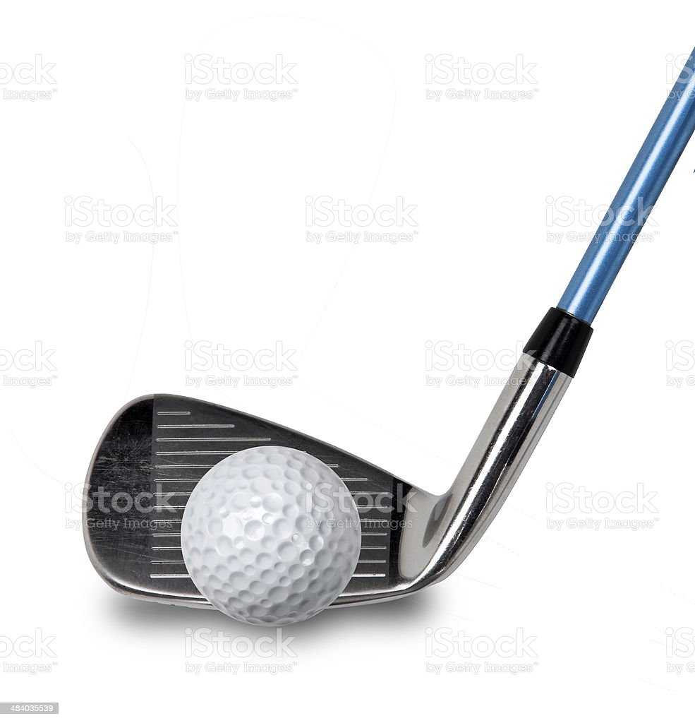 Golf club and ball on white stock photo