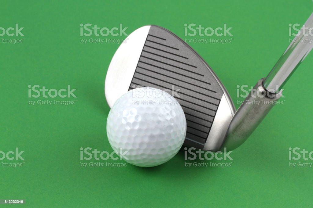 Golf club and ball stock photo