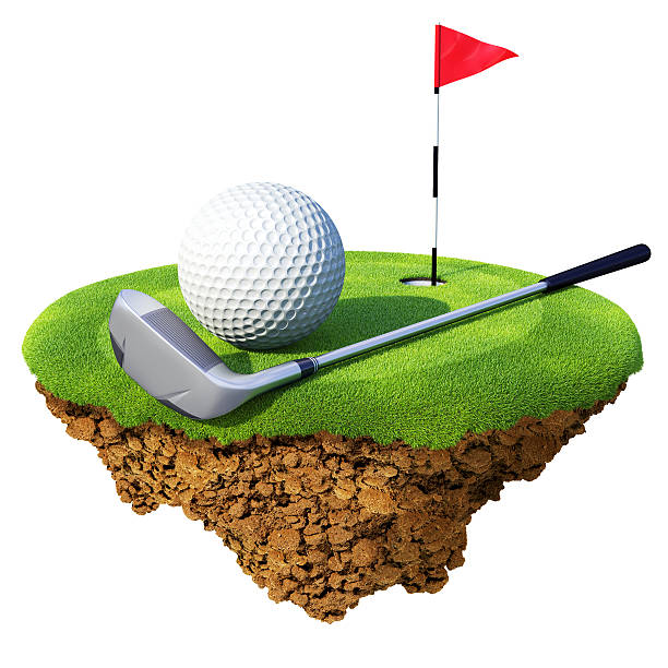 Golf club, ball, flagstick and hole based on little planet stock photo