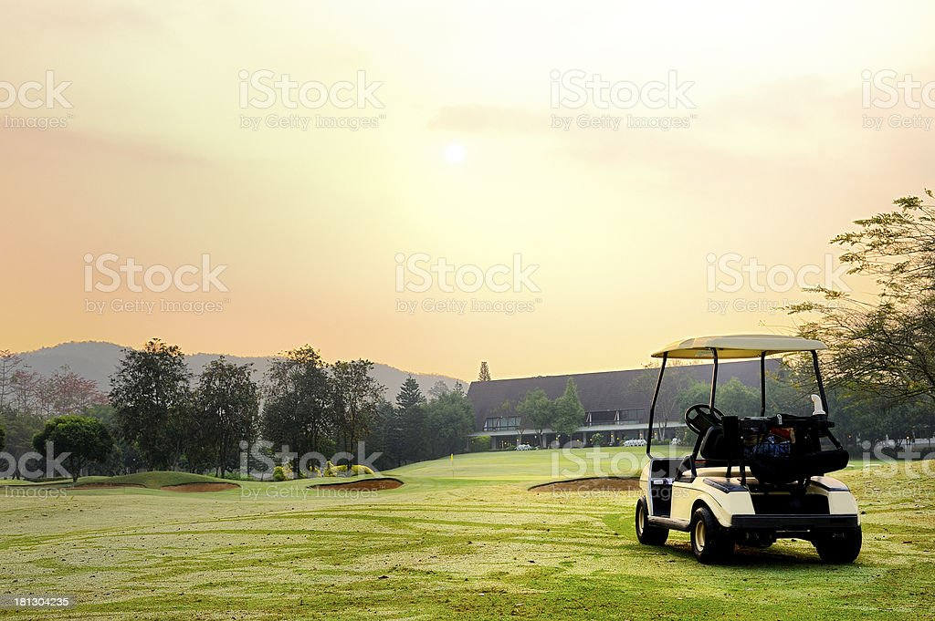 Golf club car stock photo