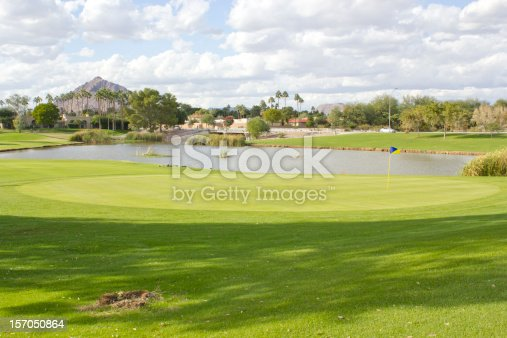 istock Golf Club field with pond 157050864