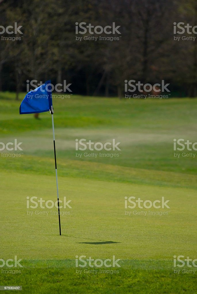 Golf club green with flag royalty-free stock photo