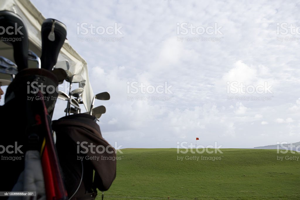 Golf club in golf cart, close-up royalty-free stock photo