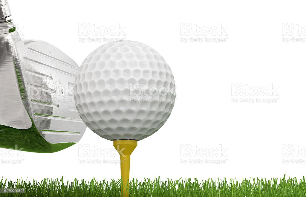golf club with golf ball on tee stock photo