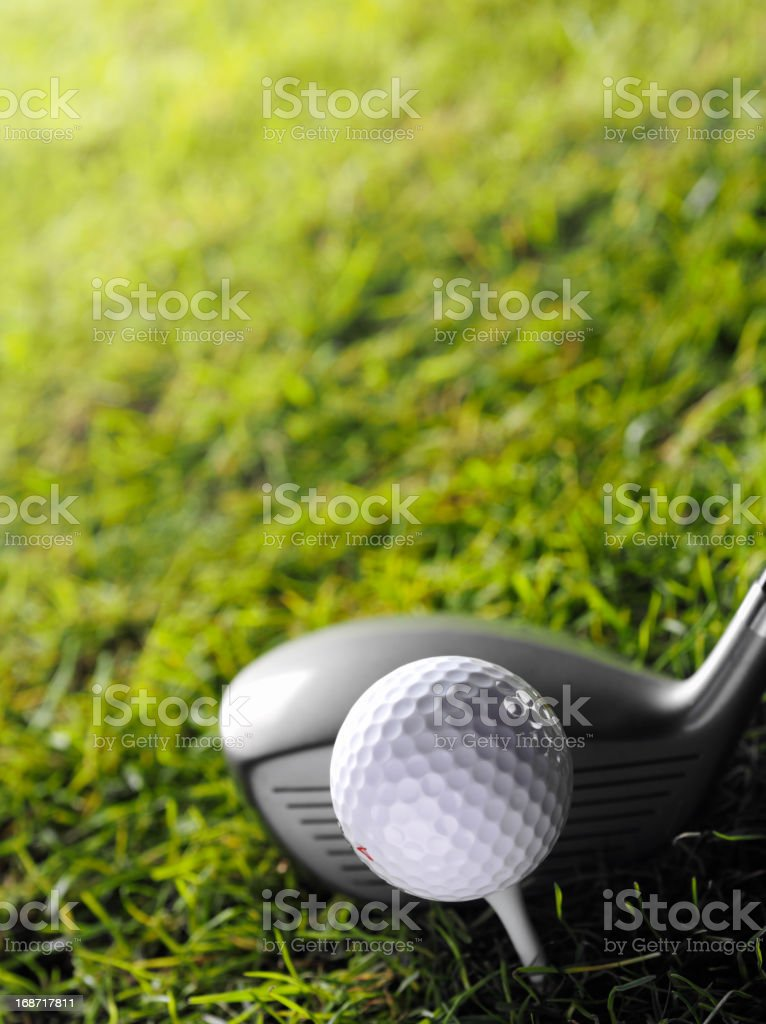 Golf Club with White Tee and Ball royalty-free stock photo