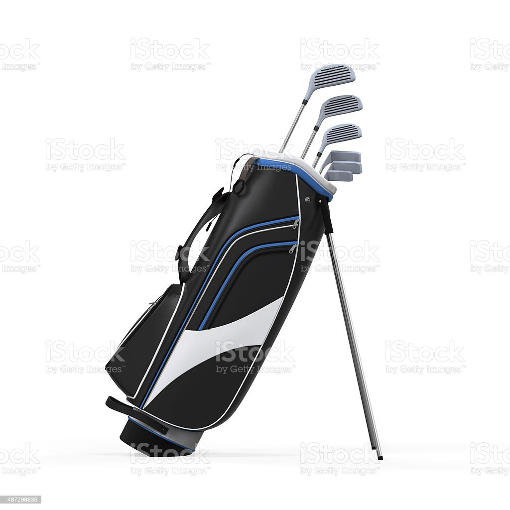 Golf clubs and Bag Isolated stock photo