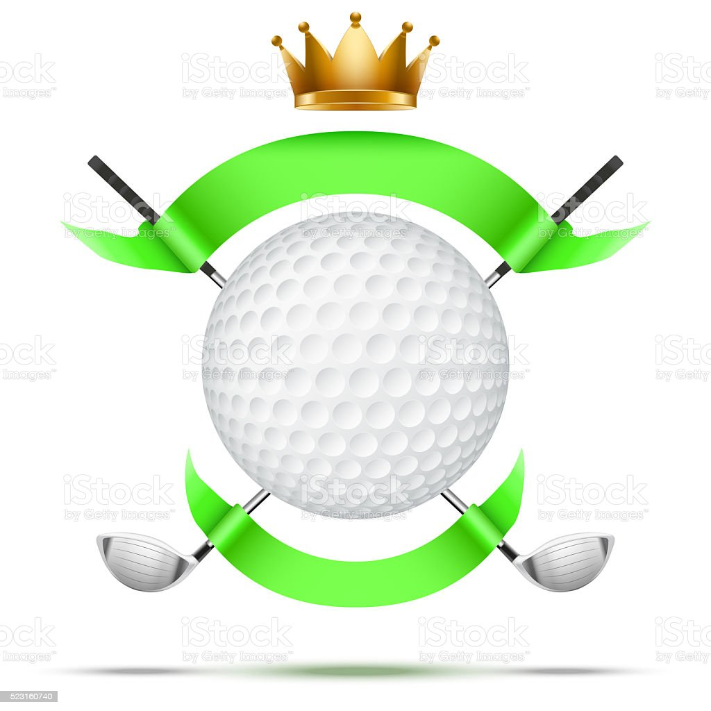 Golf clubs and ball with ribbons stock photo