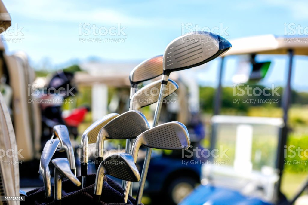 Golf Clubs And Golf Carts zbiór zdjęć royalty-free