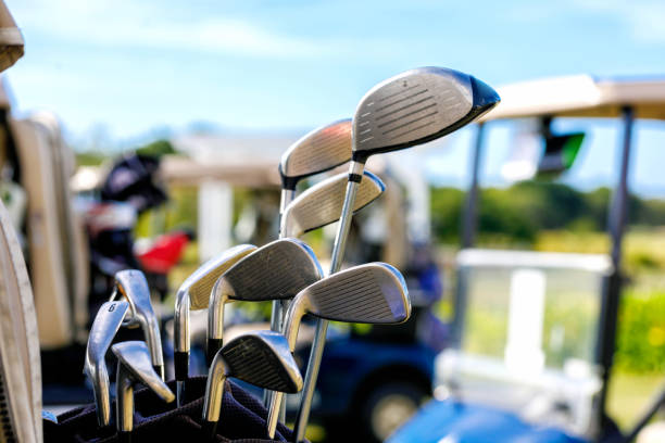 Golf Clubs And Golf Carts stock photo